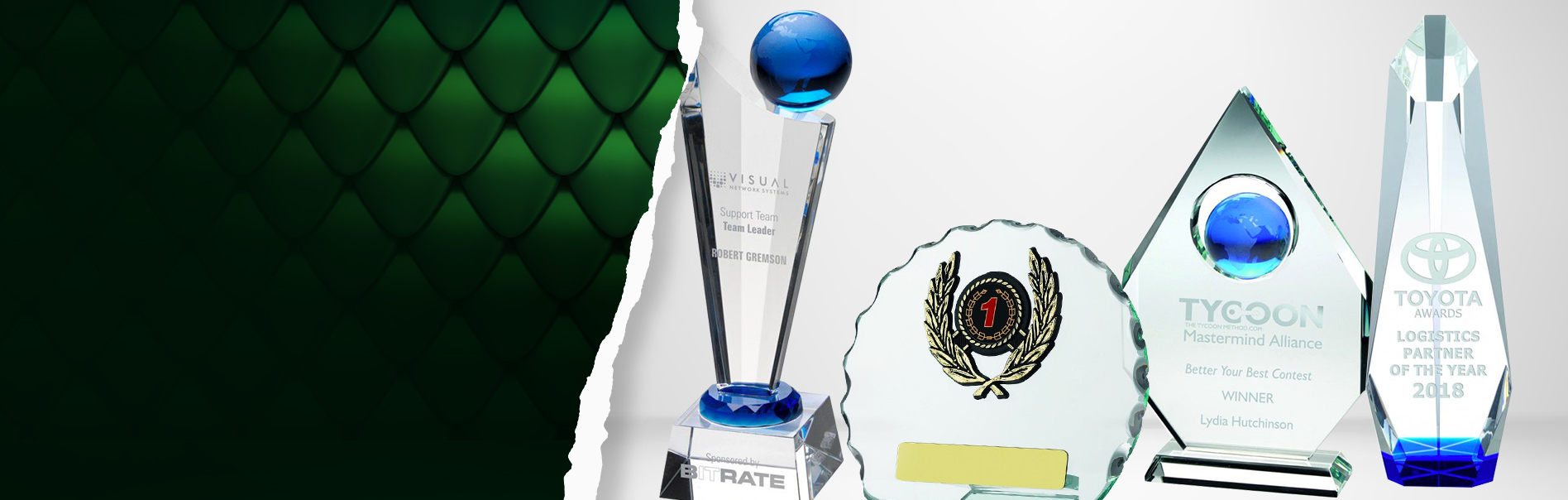 Snooker Colour-Curve Jade Crystal Trophy Award 200mm FREE Engraving