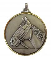Diamond Edged Equestrian Horse Head Silver Medal