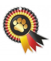 Paw Print Rosette Black Red and Yellow Medal