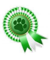 Paw Print Rosette Green Medal