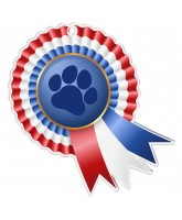 Paw Print Rosette Red White and Blue Medal