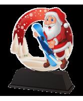 Santa Snowboard Christmas Trophy
