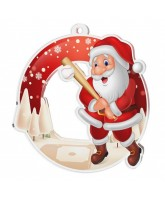 Snowy Father Christmas Baseball Medal