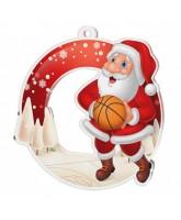 Snowy Father Christmas Basketball Medal