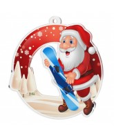 Snowy Father Christmas Snowboard Medal