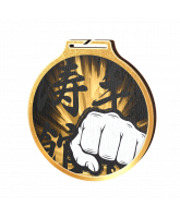 Habitat Classic Martial Arts Fist Gold Eco Friendly Wooden Medal