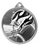 American Football Classic Texture 3D Print Silver Medal