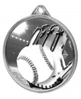 Baseball Classic Texture 3D Print Silver Medal