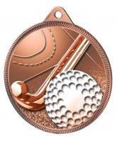 Field Hockey 3D Texture Print Antique Colour 55mm Medal - Bronze