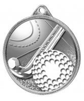 Field Hockey 3D Texture Print Antique Colour 55mm Medal - Silver