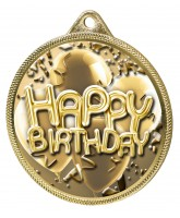 Happy Birthday Classic Texture 3D Print Gold Medal