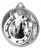 Horseshoe Equestrian Classic Texture 3D Print Silver Medal
