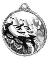 Inline Skating Classic Texture 3D Print Silver Medal