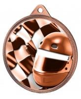 Motorsports Helmet and Flag Classic Texture 3D Print Bronze Medal