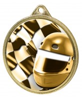 Motorsports Helmet and Flag Classic Texture 3D Print Gold Medal
