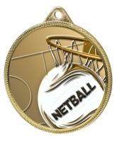 Netball 3D Texture Print Antique Colour 55mm Medal - Gold
