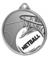 Netball 3D Texture Print Antique Colour 55mm Medal - Silver