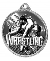 Wrestling Classic Texture 3D Print Silver Medal