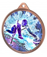 Curling 3D Texture Print Full Colour 55mm Medal - Bronze