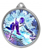 Curling 3D Texture Print Full Colour 55mm Medal - Silver
