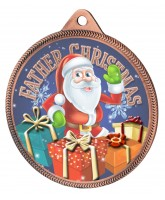 Father Christmas 3D Texture Print Full Colour 55mm Medal - Bronze