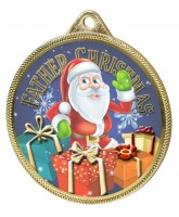 Father Christmas 3D Texture Print Full Colour 55mm Medal - Gold