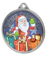 Father Christmas 3D Texture Print Full Colour 55mm Medal - Silver