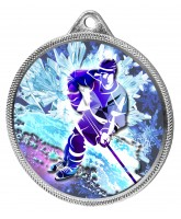 Ice Hockey Colour Freeze Texture 3D Print Silver Medal