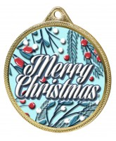Merry Christmas 3D Texture Print Full Colour 55mm Medal - Gold