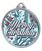 Merry Christmas 3D Texture Print Full Colour 55mm Medal - Silver