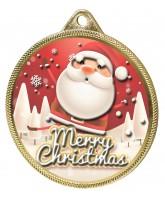 Merry Christmas Santa 3D Texture Print Full Colour 55mm Medal - Gold