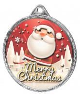 Merry Christmas Santa 3D Texture Print Full Colour 55mm Medal - Silver