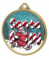 Santa Run (Blue) Christmas 3D Texture Print Full Colour 55mm Medal - Gold