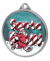 Santa Run (Blue) Christmas 3D Texture Print Full Colour 55mm Medal - Silver