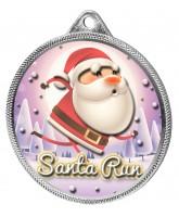 Santa Run (Pink) Christmas 3D Texture Print Full Colour 55mm Medal - Silver