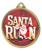Santa Run (Red) Christmas 3D Texture Print Full Colour 55mm Medal - Gold