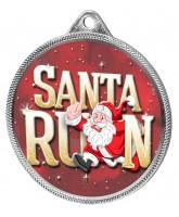 Santa Run (Red) Christmas 3D Texture Print Full Colour 55mm Medal - Silver