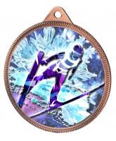 Ski Jump 3D Texture Print Full Colour 55mm Medal - Bronze