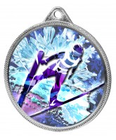 Ski Jump 3D Texture Print Full Colour 55mm Medal - Silver
