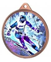 Skiing 3D Texture Print Full Colour 55mm Medal - Bronze