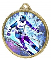 Skiing 3D Texture Print Full Colour 55mm Medal - Gold