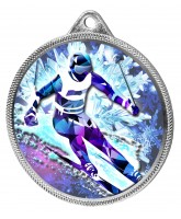 Skiing 3D Texture Print Full Colour 55mm Medal - Silver