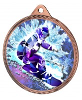 Snowboarding 3D Texture Print Full Colour 55mm Medal - Bronze