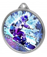 Snowboarding 3D Texture Print Full Colour 55mm Medal - Silver
