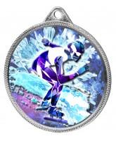 Speed Skater Colour Texture 3D Print Silver Medal