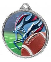 American Football Colour Texture 3D Print Silver Medal