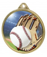 Baseball Colour Texture 3D Print Gold Medal