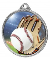 Baseball Colour Texture 3D Print Silver Medal