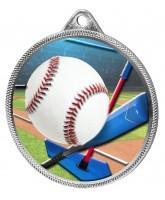 Baseball Homerun Colour Texture 3D Print Silver Medal
