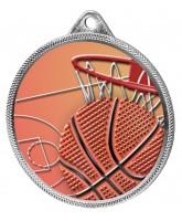 Basketball Colour Texture 3D Print Silver Medal